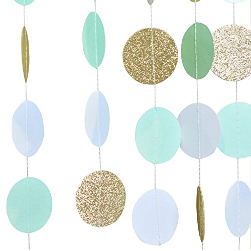 Mint Green Gold Glitter Circle Dot Paper Garlands Wedding Bridal Baby Shower Party Garland 10ft Long 1 Piece SUNBEAUTY