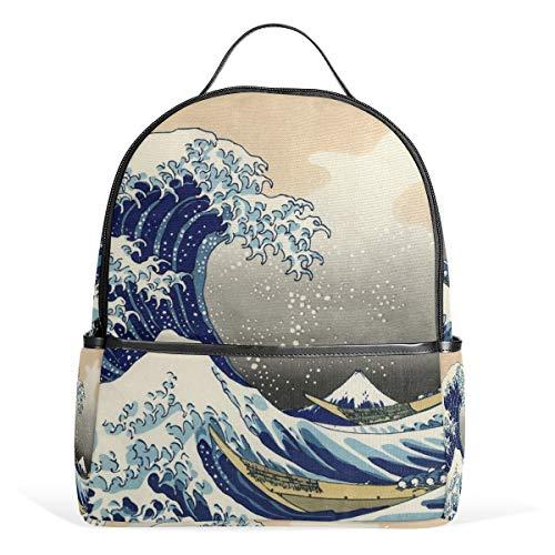 Chinese Woodblock Printing - Yokii Image Woodblock Printing Woodcut Wave Chic Casual Fashion Backpack