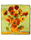 "Dahlia Women's 100% Luxury Square Silk Scarf - Van Gogh""Sunflower"" - Yellow"
