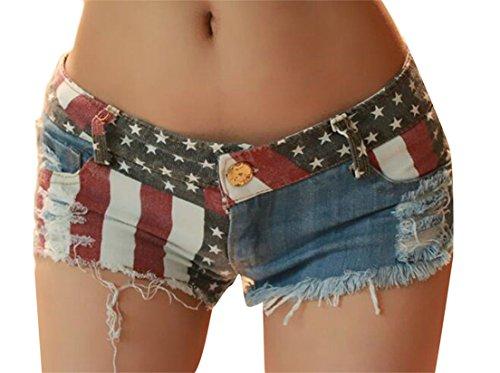 X-Future Womens Low Rise American Flag Printed Columbus Day Daisy Duke Ripped Denim Shorts one US M -