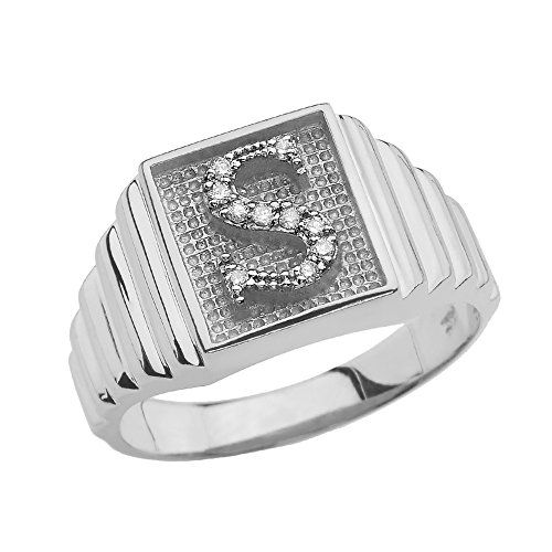 Men's 925 Sterling Silver Layered Band Square Face Diamond Initial Letter S Ring (Size 11)