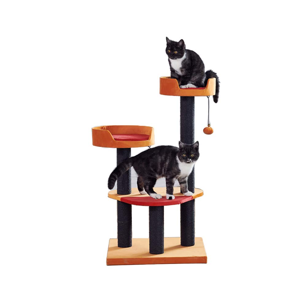 YQQ Struttura per Arrampicata Gatto Multistrato Albero di Gatto Nido di Gatto Rosso + Arancione 50  50  100 Centimetri
