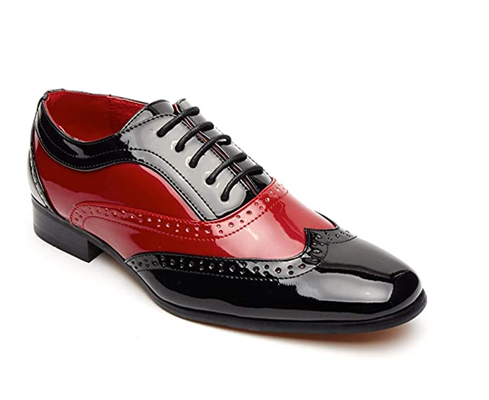 Black Red oxford style Brogue Borsali Mens spectator Two Tone gangster shoe