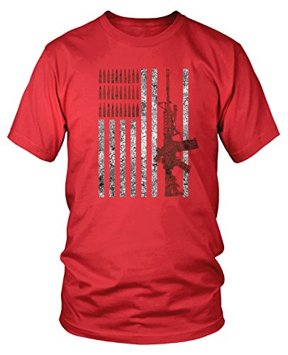 Amdesco Men's American Flag with AR15 AR-15 and Bullets T-Shirt, Red XL