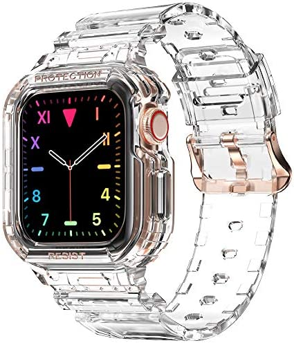 Compatible for Apple Watch Clear Band 40mm 38mm with Case, amBand Women Cute Girl Crystal Clear Jelly Protective Case with Bands for Apple Series 3 Watch Band and that iWatch 6 5 4 3 2 1 Transparent