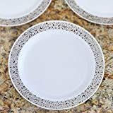"""Efavormart 50 Pcs - White with Silver Trimmed 9"""" Round Disposable Plastic Plate - Picturesque Collection"""