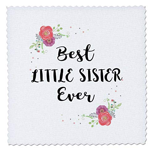 - 3dRose InspirationzStore - Love Series - Floral Best Little Sister Ever pretty watercolor pink flowers lil sis - 22x22 inch quilt square (qs_312398_9)