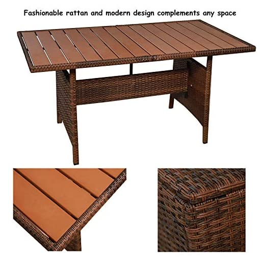Garden and Outdoor MEETWARM 7 Pieces Wicker Patio Furniture Set Outdoor Conversation Set All Weather Rattan Sectional Sofa Couch Garden… patio furniture sets