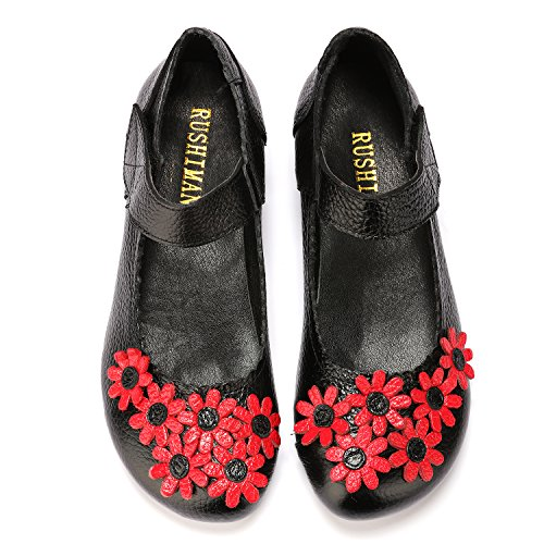 Womens Loafers Mother Mary Oxfords Flower Black Flats Shoes Leather Lowtop Jane Heel Pregnant Odema Low RwdYCqC