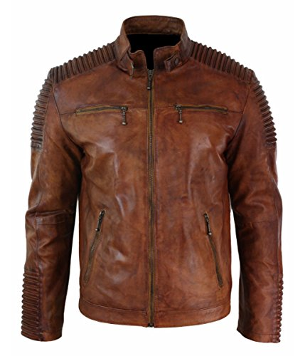 Leatherly Chaqueta de hombre Cafe Racer Vendimia Distressed marrón Motociclista estilo Genuine chaqueta de cuero