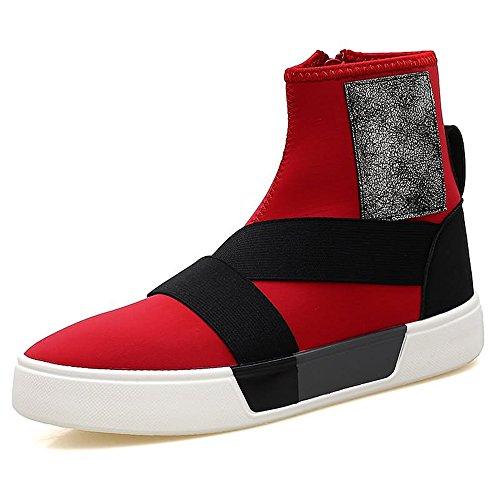 High Hommes Latéral à Chaussures Talon Fashion de pour Zip Sneaker Chaussures Red Plat Cheville Cricket PU Semelle qfYIwIp