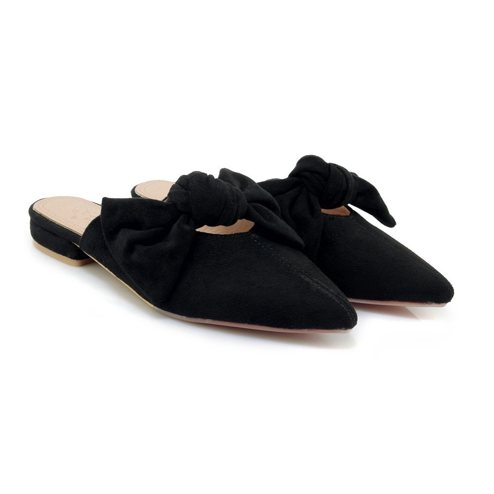 Cicime Women's Mules Bowknot Pointed Toe Backless Slip On Flat Loafers Slide Slippers Black Suede by Cicime (Image #1)