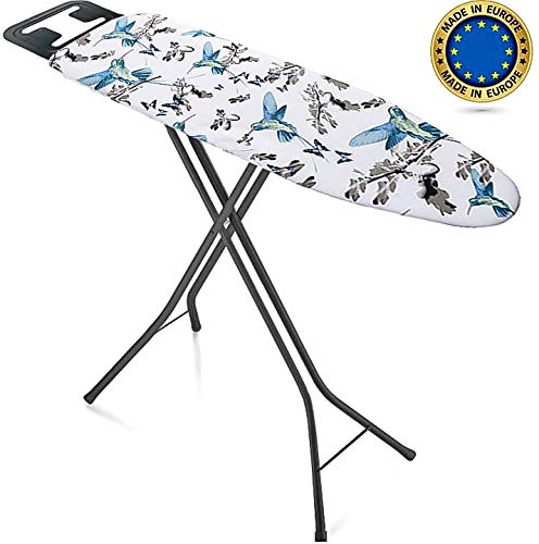 Bartnelli Ironing Board Made in Europe | Iron Board with 3 Layer Cover Pad, Height Adjustable, Safety Iron Rest, 4 Leg, Home Laundry Room or Dorm Use (44 x 14 H.36) (Black / Blue)
