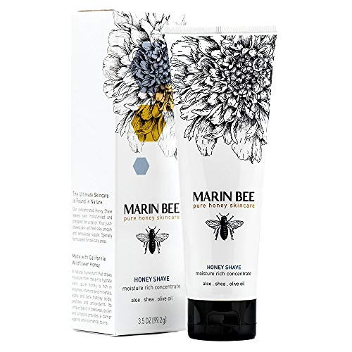 MARIN BEE HONEY SHAVE Luxurious natural hair removal shaving cream for women and men to moisturize, reduce razor bumps, soothe sensitive skin with shea butter, vitamin E and aloe, cruelty-free