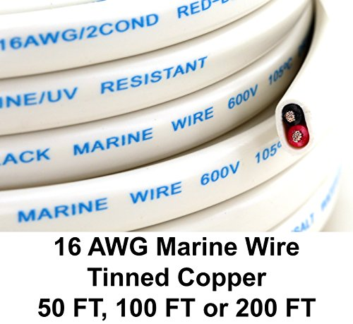Marine Battery Cable Boat Wire - GS Power's 16 Ga (True American Wire Gauge) AWG Tinned Oxygen Free Copper OFC Duplex 16/2 dual conductor Red/Black AC Marine Boat Battery Wire. Cable Length: 50 FT (100 or 200' Options Available)