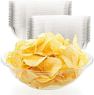 Amazon Com Chips Bowls 20 Pack 64 Oz Disposable Serving Bowls Large Plastic Bowls For Popcorn Chips Nachos Pretzels Cold Salads And More Great For Parties And Tailgates Kitchen Dining