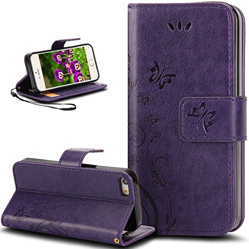 iPhone 4S Case,iPhone 4 Case,NSSTAR Butterfly Flower Flip PU Leather Fold Wallet Pouch Case Premium Leather Wallet Flip Stand Credit Card ID Holders Case Cover for Apple iPhone 4S/4,Purple
