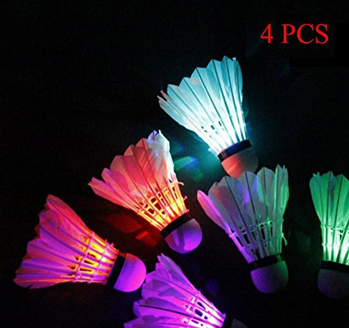 (LED Badminton Set Shuttlecock Dark Night Glow Birdies Lighting for Outdoor/Indoor Sports Activities (Colorful))