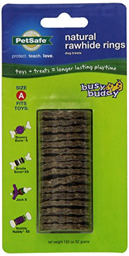 PetSafe Busy Buddy Refill Ring Dog Treats for select Busy Buddy Dog Toys, Natural Rawhide, Size A