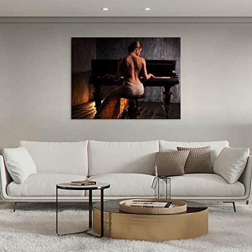 Yatsen Bridge Sexy Woman Canvas Paintings Modern Home Decoration Naked Back Girl Play Piano Picture Wall Art Giclee Print Artwork