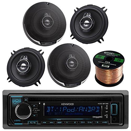 "Kenwood KDC-BT31 Single DIN Bluetooth In-Dash CD/AM/FM Car Stereo Receiver Bundle Combo With 4x KFC1395PS 5-1/4"" 320W Audio Speaker + Enrock 50Ft Speaker Wire -  Enrock Kenwood, KDCBT32 KFC1395PS"