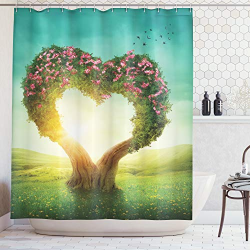 Ambesonne Love Decor Collection, Heart Shaped Tree in the Meadow Grassland Wildflowers Enchanted Fairytale Image, Polyester Fabric Bathroom Shower Curtain Set with Hooks, Green Teal Pink Ivory