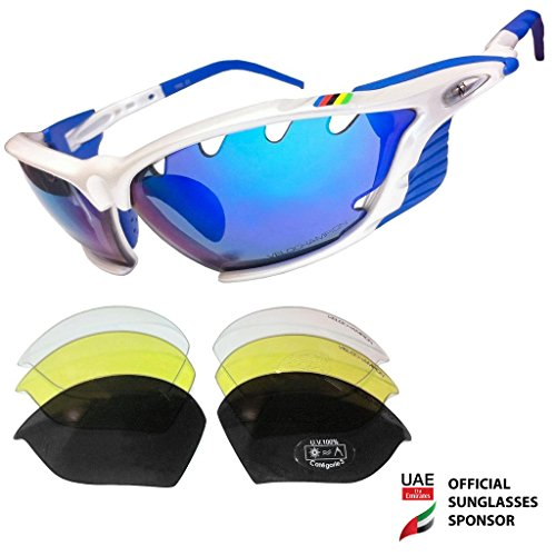 VeloChampion World Cup Sunglasses - White Frame with 4 Interchangeable Lenses (Revo Blue, Smoke, Yellow and - Prescription Sunglass Inserts