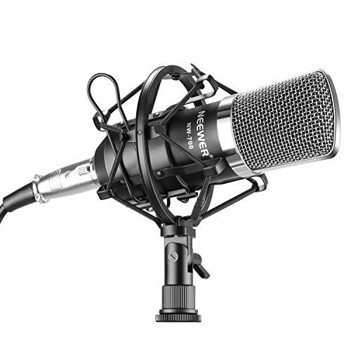 Neewer® NW-700 Professionelle Studio Rundfunk & Aufnahme Kondensator-Mikrofon Set inklusive: (1) NW-700 Kondensator-Mikrofon + (1) Metall Mikrofon Erschütterungsabsorber + (1) Kugel-Typ Anti-wind Schaum Kappe + (1) Mikrofon Audiokabel (Schwarz)