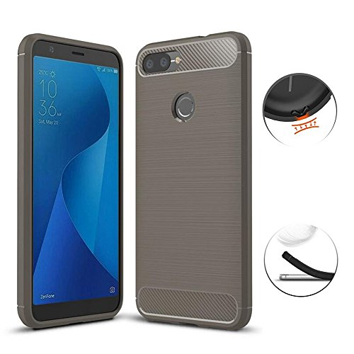ASUS ZenFone Max Plus ZB570TL Case, TopACE Ultra Thin Carbon Fiber Scratch Resistant Shock Absorption Soft TPU Protective Cover for Asus ZenFone Max Plus (M1) ZB570TL (Gray)
