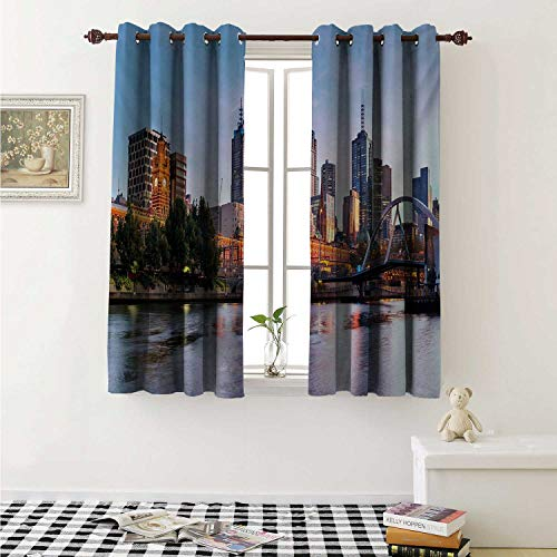 shenglv City Waterproof Window Curtain Early Morning Scenery in Melbourne Australia Famous Yarra River Scenic Curtains for Party Decoration W84 x L72 Inch Orange Green Pale Blue