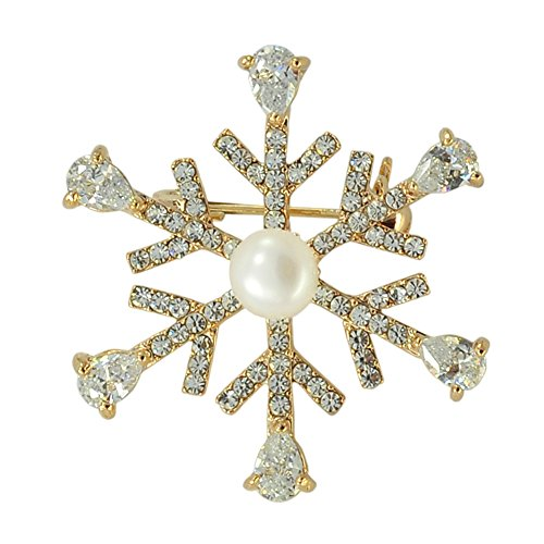 Paialco Cultured Freshwater Pearl Snowflake Brooch Pin for Christmas & New Year, Design (Cultured Pearl Yellow Brooch)