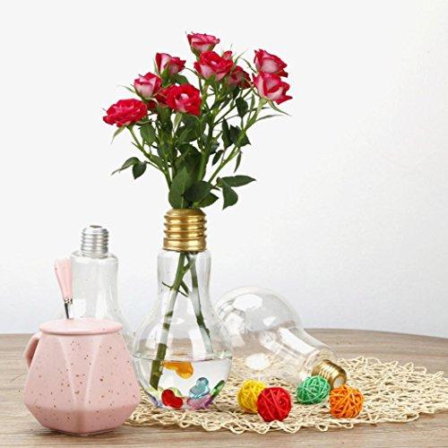 Flower Vase Clear Light Bulb Shape Stand Plant Flower Vase Hydroponic Container Bottle GOTD (Gold)