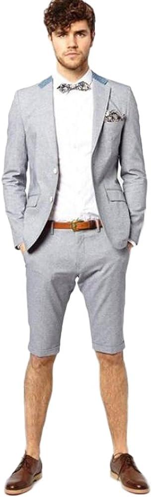 Men Suit 2 Piece Groom Tuxedo with Short Pants Fashion Business Mens Summer Wear Suits Sets