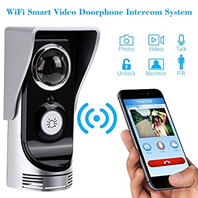 BLACK FRIDAY SALE - New Upgraded -Global Wireless Video Doorphone & Doorbell WIFI Intercom System Night Vision Weatherproof - PIR Motion Activated, Waterproof, Support Android IOS APP, Unlock by Phone