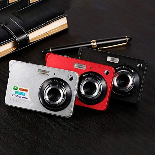 Color : Silver 21M Pixels Children Digital Camera 2.7 inch Color Display Card Style Digital Photo Video Record Camera HD 8X Zooming Smart Automatic Camera Durable