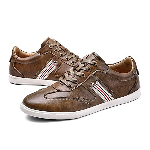 Top White Flat HUAN Fashion Loafers Low Leather Casual Formal Brown Men's Business Work Deck Shoes Shoes C Khaki Sneakers Blue EpEFqwyZ
