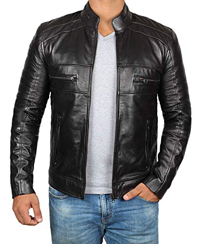 Decrum Black Soft Mens Leather Jacket for Adult | Black Austin, S