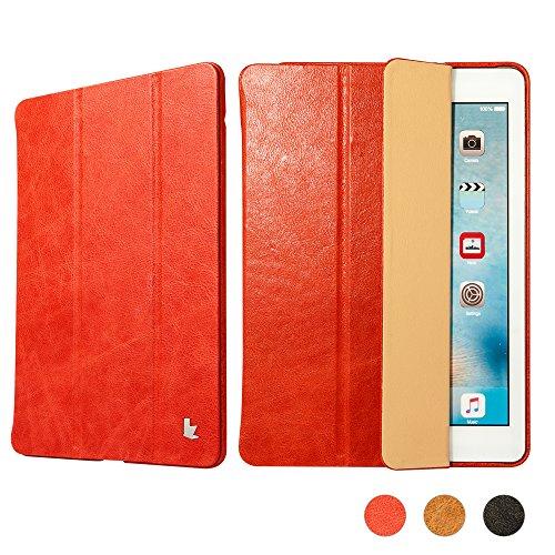 iPad Mini Leather Case, Jisoncase Auto- Wake up/sleep Function Vintage Genuine Leather Flip Case Smart Cover for Apple iPad Mini 3& iPad Mini 2& iPad Mini - Red (JS-IM2-01A30)