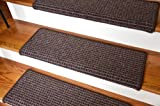 Dean Modern DIY Peel and Stick Bullnose Wraparound Non-Skid Carpet Stair Treads - Cobbler Brown 30''W (15)