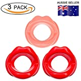 Facial Muscles Lips - 3 Pieces Silicone Face Slimmer Mouth Tightener Rubber Anti-wrinkle Anti-aging Mouth Muscle Tightener Face Exercise Lips Trainer Face-lift (3 pcs, 2 Red and 1 Pink)