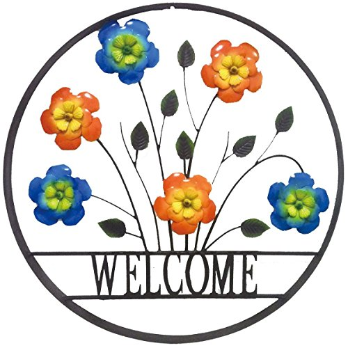 (BACKYARD EXPRESSIONS PATIO · HOME · GARDEN 906675 Decorative Outdoor Floral Welcome Wheel Art Wall Sign)