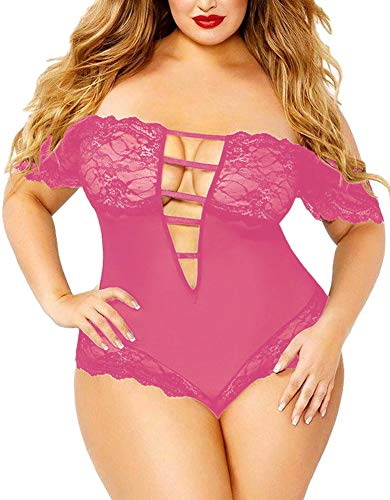 Bodysuit Lace Trim - Women's Plus Size Off-Shoulder Teddy, Sexy See Through Sheer Mesh Plunging Lace Trim Lingerie (Pink,2XL,323)