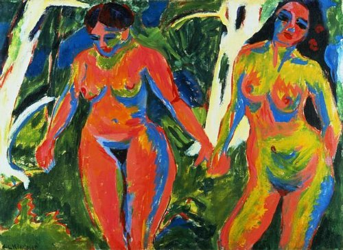 Wallmonkeys Two Nude Women in the Forest by Ernst Ludwig Kirchner Peel and Stick Wall Decals WM78047 (24 in W x 18 in H)
