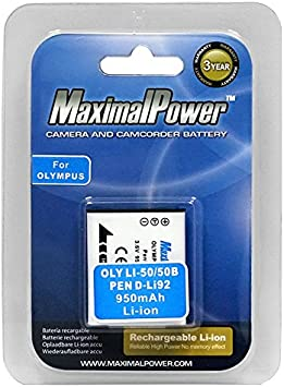Amazon Com Maximal Power Db Oly Li 50b Replacement Battery For Olympus Digital Camera Camcorder Olympus U Tough Camera Camera Photo
