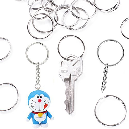 Tencal Flat Key Rings Metal Keychain Rings Split Keyrings for Home Car Keys Attachment, 3 Sizes, 90 Pieces (Silver)