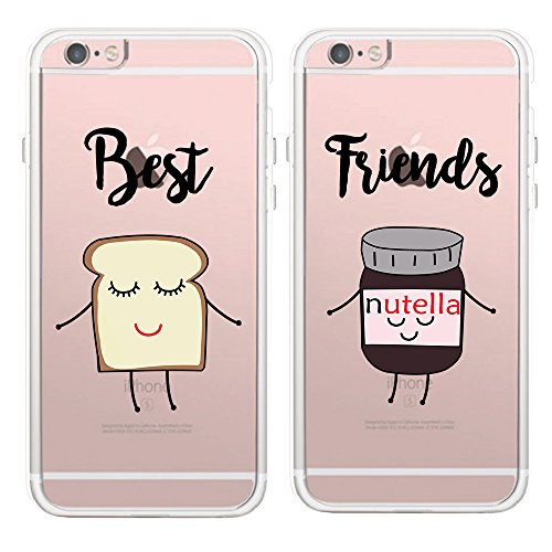 Couples Matching Best Friends BFF Clear Soft TPU Rubber Phone Protective Cover Cases