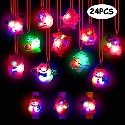 Christmas 2019 Updated Version Light Up Toy - Pack of 24 Christmas LED Light Up Party Favor Necklace Bracelet Wristband for Men and Women Flashing Christmas Stocking Stuffers Ornaments Decorations wit