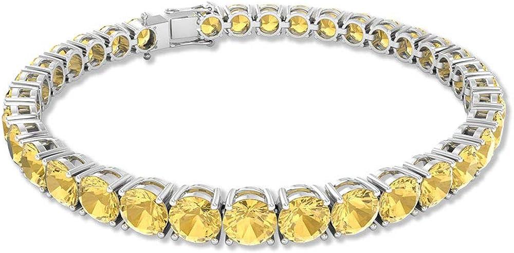 Pulsera de tenis citrino de 17,5 quilates, con piedras preciosas redondas, con certificado SGL, pulsera de boda de dama de honor, pulsera de declaración de aniversario, 7 pulgadas
