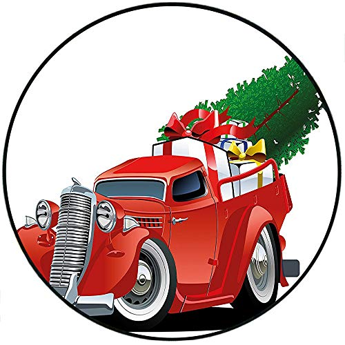 Short Plush Round Rug Christmas Vintage Red American Truck with Large Xmas Tree and Gift Boxes in Pickup Retro Motor White Red Living Room Coffee Table 31.5