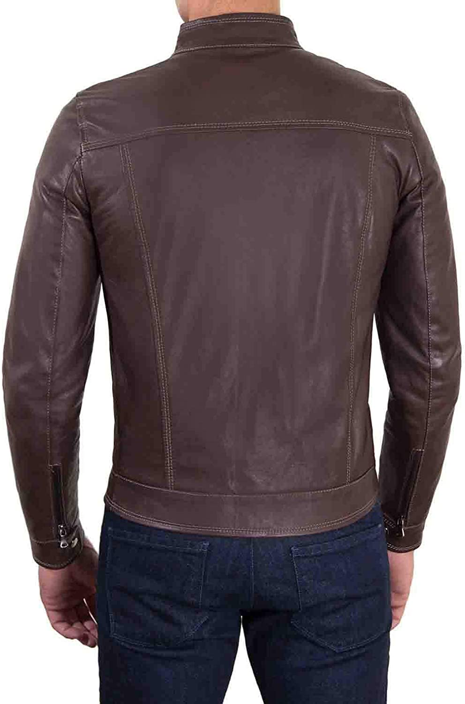 Ayesha Mens Leather Jackets Motorcycle Bomber Biker Genuine Lambskin 254